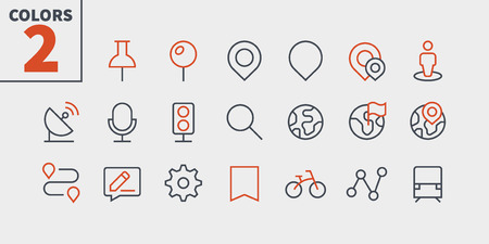 Location Pixel Perfect Well-crafted Vector Thin Line Icons 48x48 Ready for 24x24 Grid for Web Graphics and Apps with Editable Stroke. Simple Minimal Pictogram Part 1  イラスト・ベクター素材