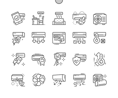 Air Conditioning Well-crafted Pixel Perfect Vector Thin Line Icons 30 2x Grid for Web Graphics and Apps. Simple Minimal Pictogram Vettoriali
