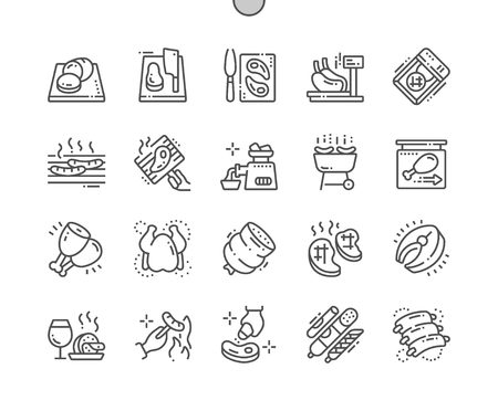Meat Well-crafted Pixel Perfect Vector Thin Line Icons 30 2x Grid for Web Graphics and Apps. Simple Minimal Pictogram Иллюстрация