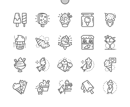 Ice cream Well-crafted Pixel Perfect Vector Thin Line Icons 30 2x Grid for Web Graphics and Apps. Simple Minimal Pictogram Illustration