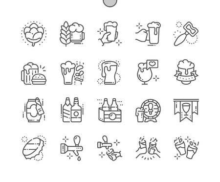 Beer Well-crafted Pixel Perfect Vector Thin Line Icons 30 2x Grid for Web Graphics and Apps. Simple Minimal Pictogram