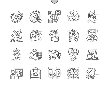 Ecology Well-crafted Pixel Perfect Vector Thin Line Icons 30 2x Grid for Web Graphics and Apps. Simple Minimal Pictogram