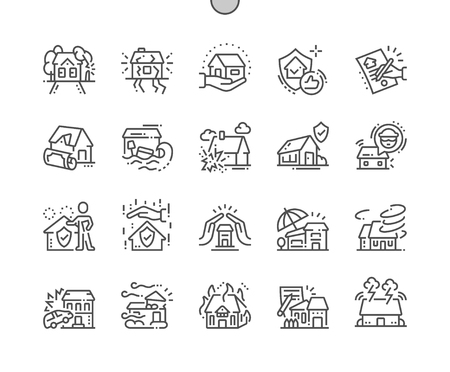 Home Insurance Well-crafted Pixel Perfect Vector Thin Line Icons 30 2x Grid for Web Graphics and Apps. Simple Minimal Pictogram Stock Photo