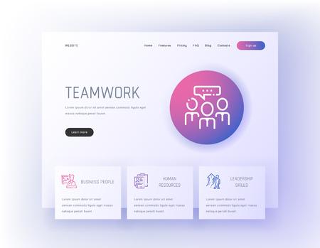 Teamwork, Business people, Human resources, Leadership skills Landing page template.