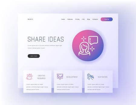 Share ideas, Creative research, Development, Inspiration Landing page template. Template for website design.