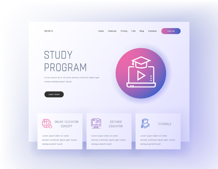 Study program, Online education concept, Distance education, Tutorials Landing page template.