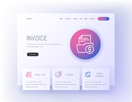Invoice, Money flow, Payment, Market research Landing page template.