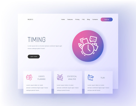 Timing, Events planning, Statistical analysis, Plan Landing page template. Illustration