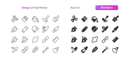 Graphic Design UI Pixel Perfect Well-crafted Vector Thin Line And Solid Icons 30 3x Grid for Web Graphics and Apps. Simple Minimal Pictogram Part 2-4 Illustration