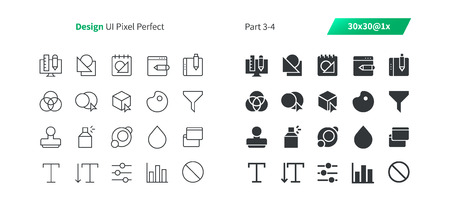 Graphic Design UI Pixel Perfect Well-crafted Vector Thin Line And Solid Icons 30 1x Grid for Web Graphics and Apps. Simple Minimal Pictogram Part 3-4