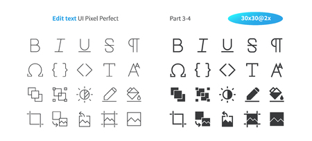 Edit text UI Pixel Perfect Well-crafted Vector Thin Line And Solid Icons 30 2x Grid for Web Graphics and Apps. Simple Minimal Pictogram Part 3-4 Ilustração