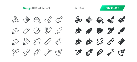 Graphic Design UI Pixel Perfect Well-crafted Vector Thin Line And Solid Icons 30 1x Grid for Web Graphics and Apps. Simple Minimal Pictogram Part 2-4 Stock Vector - 100452976