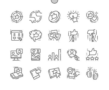 Votes Well-crafted Pixel Perfect Vector Thin Line Icons 30 2x Grid for Web Graphics and Apps. Simple Minimal Pictogram Archivio Fotografico - 100521862