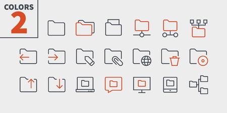 Folder UI Pixel Perfect Well-crafted Vector Thin Line Icons. Illustration