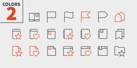 Bookmarks and Tags UI Pixel Perfect Well-crafted Vector Thin Line Icons.