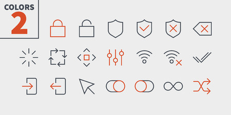 Control UI Pixel Perfect Well-crafted Vector Thin Line Icons.  イラスト・ベクター素材