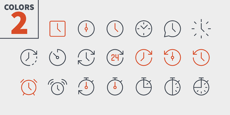 Time UI Pixel Perfect Well-crafted Vector Thin Line Icons. Illustration