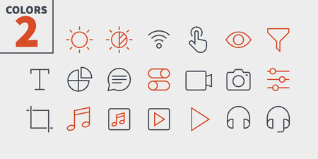 Settings UI Pixel Perfect Well-crafted Vector Thin Line Icons. Ready for Grid for Web Graphics and Apps with Editable Stroke. Simple Minimal Pictogram.  イラスト・ベクター素材