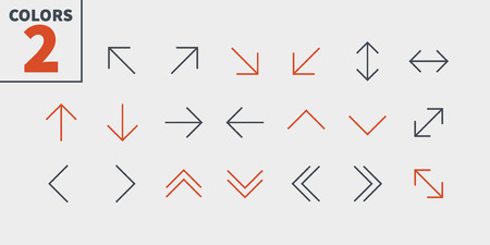 Arrows UI Pixel Perfect Well-crafted Vector Thin Line Icons. Ready for Web Graphics and Apps with Editable Stroke. Illustration
