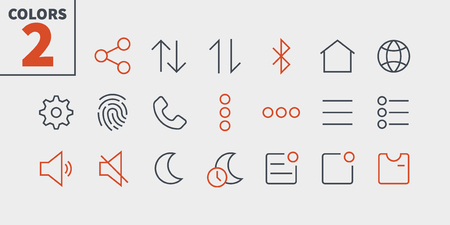 Settings UI Pixel Perfect Well-crafted Vector Thin Line Icons. Ready for Web Graphics and Apps with Editable Stroke. Banque d'images - 100974066