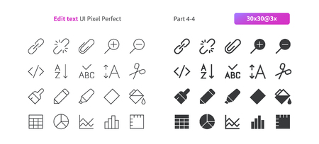 Edit text UI pixel perfect well crafted vector thin line and solid icons. Grid for web graphics and apps, simple pictogram. Çizim