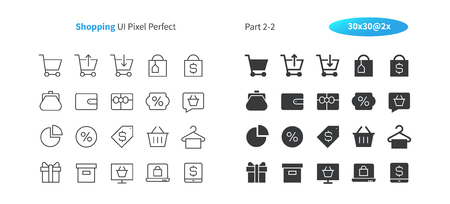 Shopping UI pixel perfect well crafted vector thin line and solid icons. Grid for web graphics and apps, simple pictogram.