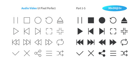 Audio Video UI Pixel Perfect Well-crafted Vector Thin Line And Solid Icons 30 2x Grid for Web Graphics and Apps. Simple Minimal Pictogram Part 1-5 스톡 콘텐츠 - 101282418