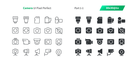 Camera UI Pixel Perfect Well-crafted Vector Thin Line And Solid Icons 30 1x Grid for Web Graphics and Apps. Simple Minimal Pictogram