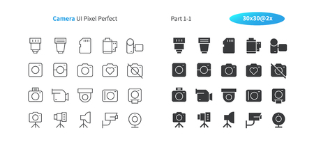 Camera UI Pixel Perfect Well-crafted Vector Thin Line And Solid Icons 30 2x Grid for Web Graphics and Apps. Simple Minimal Pictogram