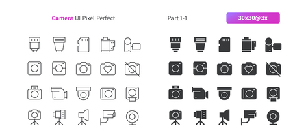 Camera UI Pixel Perfect Well-crafted Vector Thin Line And Solid Icons 30 3x Grid for Web Graphics and Apps. Simple Minimal Pictogram