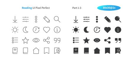 Lectura de la interfaz de usuario Pixel Perfect Vector bien elaborado Iconos sólidos y de líneas finas 30 Cuadrícula 2x para gráficos y aplicaciones web. Pictograma mínimo simple, parte 1-3