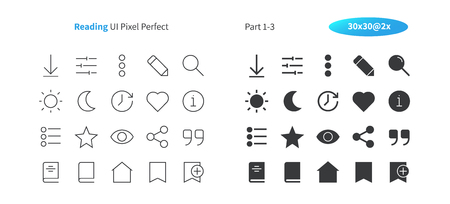 Reading UI Pixel Perfect Well-crafted Vector Thin Line And Solid Icons 30 2x Grid for Web Graphics and Apps. Simple Minimal Pictogram Part 1-3 写真素材 - 101284148