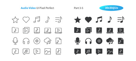 Audio Video UI Pixel Perfect Well-crafted Vector Thin Line And Solid Icons 30 2x Grid for Web Graphics and Apps. Simple Minimal Pictogram Part 3-5  イラスト・ベクター素材
