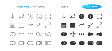 Audio Video UI Pixel Perfect Well-crafted Vector Thin Line And Solid Icons 30 2x Grid for Web Graphics and Apps. Simple Minimal Pictogram Part 5-5 Illustration