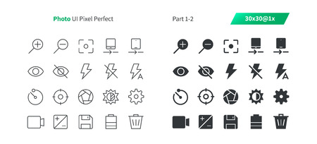 Photo UI Pixel Perfect Well-crafted Vector Thin Line And Solid Icons 30 1x Grid for Web Graphics and Apps. Simple Minimal Pictogram Part 1-2 Vettoriali
