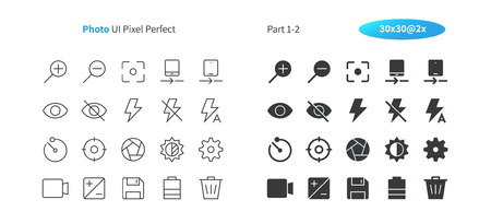 Photo UI Pixel Perfect Well-crafted Vector Thin Line And Solid Icons 30 2x Grid for Web Graphics and Apps. Simple Minimal Pictogram Part 1-2