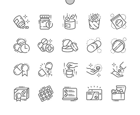 Pills Well-crafted Pixel Perfect Vector Thin Line Icons 30 2x Grid for Web Graphics and Apps. Simple Minimal Pictogram Ilustração