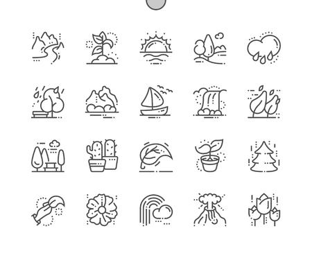 Natuur Goed gemaakte Pixel Perfect Vector Dunne lijnpictogrammen 30 2x raster voor webafbeeldingen en apps. Eenvoudig minimaal pictogram Stockfoto - 102225008