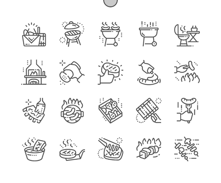 Barbecue Well-crafted Pixel Perfect Vector Thin Line Icons 30 2x Grid for Web Graphics and Apps. Simple Minimal Pictogram
