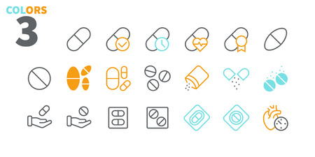 Medicine UI Pixel Perfect Well-crafted Vector Thin Line Icons 48x48 Ready for 24x24 Grid for Web Graphics and Apps with Editable Stroke. Simple Minimal Pictogram Part 1-3 Ilustração