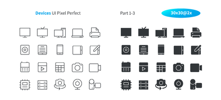 Devices UI Pixel Perfect Well-crafted Vector Thin Line And Solid Icons 30 2x Grid for Web Graphics and Apps. Simple Minimal Pictogram Part 1-3 Illustration