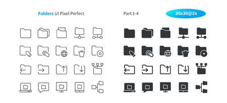 Folders UI Pixel Perfect Well-crafted Vector Thin Line And Solid Icons 30 2x Grid for Web Graphics and Apps. Simple Minimal Pictogram Part 1-4
