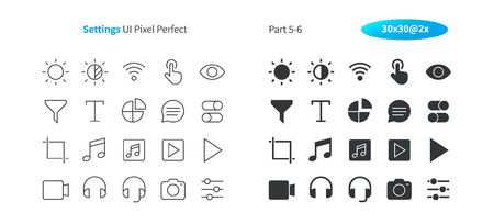 Settings UI Pixel Perfect Well-crafted Vector Thin Line And Solid Icons 30 2x Grid for Web Graphics and Apps. Simple Minimal Pictogram Part 5-6