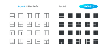 Layout UI Pixel Perfect Well-crafted Vector Thin Line And Solid Icons 30 2x Grid for Web Graphics and Apps. Simple Minimal Pictogram Part 1-6 Illustration
