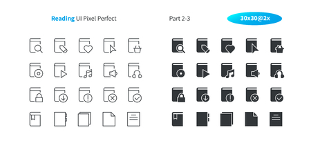 Reading UI Pixel Perfect Well-crafted Vector Thin Line And Solid Icons 30 2x Grid for Web Graphics and Apps. Simple Minimal Pictogram Part 2-3 Stock Illustratie