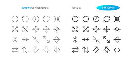 Arrows UI Pixel Perfect Well-crafted Vector Thin Line And Solid Icons 30 2x Grid for Web Graphics and Apps. Simple Minimal Pictogram Part 3-5 Çizim