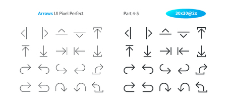 Arrows UI Pixel Perfect Well-crafted Vector Thin Line And Solid Icons 30 2x Grid for Web Graphics and Apps. Simple Minimal Pictogram Part 4-5
