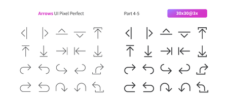 Arrows UI Pixel Perfect Well-crafted Vector Thin Line And Solid Icons 30 3x Grid for Web Graphics and Apps. Simple Minimal Pictogram Part 4-5 Çizim