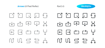Arrows UI Pixel Perfect Well-crafted Vector Thin Line And Solid Icons 30 2x Grid for Web Graphics and Apps. Simple Minimal Pictogram Part 5-5