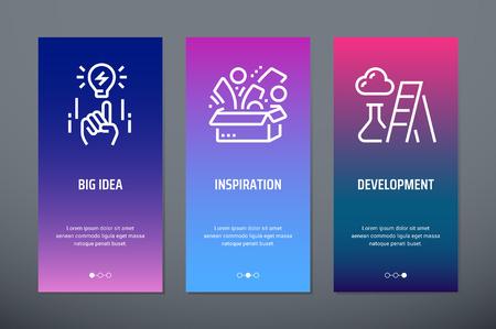 Big idea, Inspiration, Development Vertical Cards with strong metaphors.